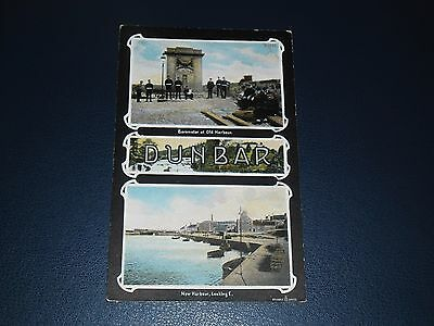Postcard The Harbour & Fishermen And Soldiers At The Barometer Dunbar