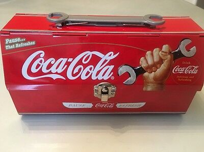 Rare Coca-cola Tin Tool Box With Wrench Handle Coke Collectible  Utensil Holder