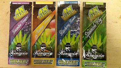 4 pc x Variety Packs KingPin Flavored Blunt Hemp Wraps Rolling Paper 4 per pack