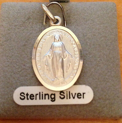 925 Sterling Silver Solid Miraculous Medal Cross Pendant Charm