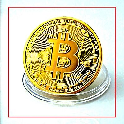 Bitcoin-Coin-Gold-yellow-Plated-Collectible-BTC-LTC-metal-Gift-2017