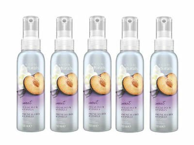 5 X Avon Naturals Fragrance Spritz 100Ml Room Spray Sugar Plum & Vanilla