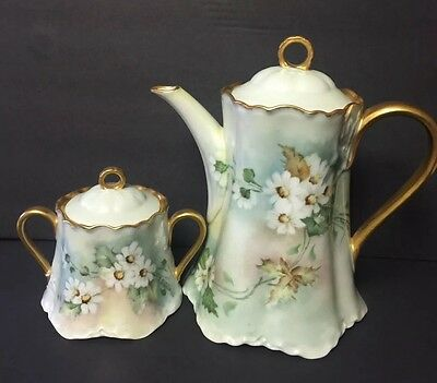 Hutschenreuther Selb Lhs Bavaria Coffee Pot And Sugar Bowl Hand Painted Signed