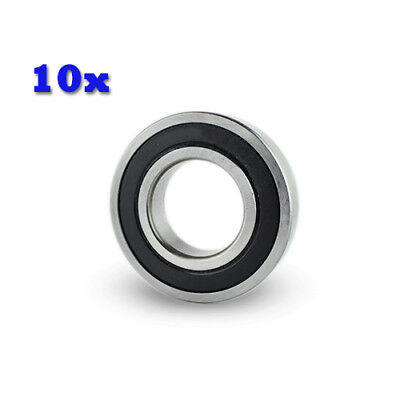 10PC Premium R6 2RS ABEC1 Rubber Sealed Deep Groove Ball Bearing 3/8x 7/8x 9/32""