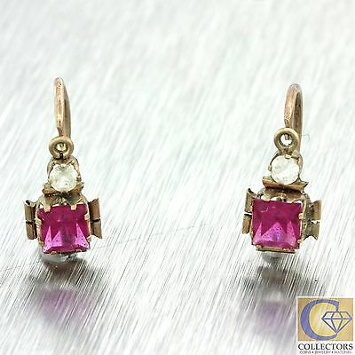1880s Antique Victorian 10k Solid Gold Square Synthetic Ruby Paste Earrings