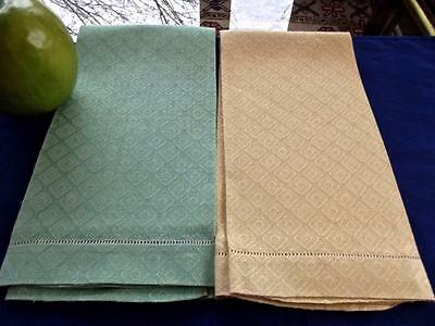 2 Antique Yellow Green Huck Damask Diamonds Bath Guest Hand Towels Hemstitched