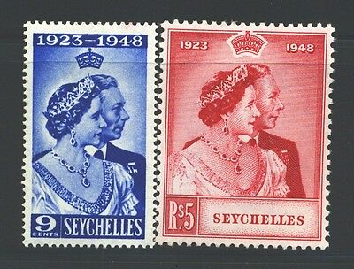 SEYCHELLES Sc151-52 SG152-53 MH 1948 KGVI Royal Silver Wedding set of 2 SCV$16