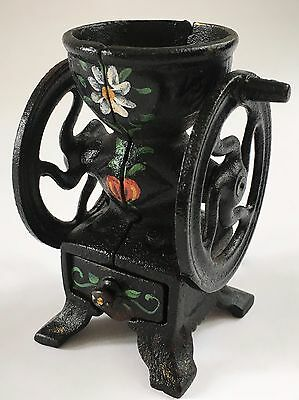 PRISTINE 2 Fly-Wheel CAST-IRON TOY/MINIATURE Antique/Vintage Coffee Mill/Grinder