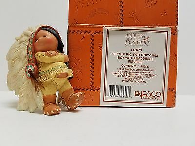 "Enesco 1994 ""little Big For Britches"" Boy With Heddress Figurine"