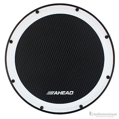 """Ahead S-Hoop Carbon Fiber Marching Practice Pad w/ Snare Sound - 14"""" - White"""