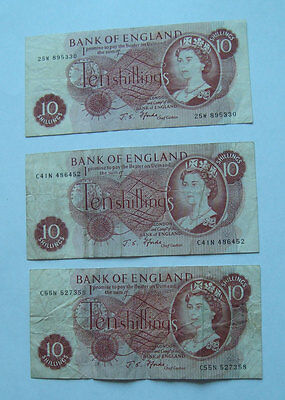 GREAT BRITAIN 10 SHILLINGS Bank Of England Banknotes Lot of 3 - Very Good