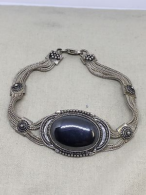 "8"" Sterling Silver Hematite Ornate Bracelet 29 Grams.  F1-23"