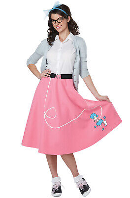 Brand New 50s Pink Poodle Skirt Grease Pink Ladies Adult Costume