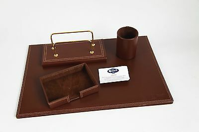 *NEW* $400 Munari Cognac Leather Desk Set Fathers Day Gift Made in Italy