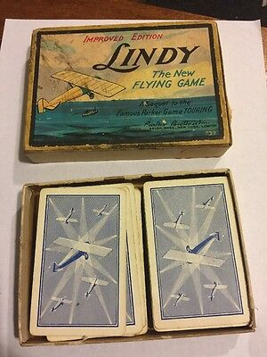 """Lindy """"The New Flying Game"""" Parker Bros. Improved Edition Great Graphics 1927"""