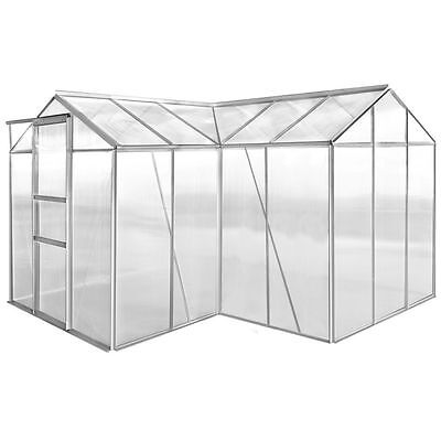 Aluminium Greenhouse 2 Sections with Hollow Panel Walk-in Vegetable Plants Grow