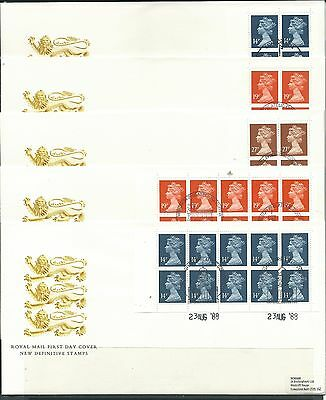 GB 1988 set of 5 Booklet Panes on FDCs, condn fine.