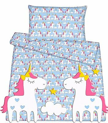 Baby toddler cot cot bed set duvet cover pillowcase 100%cotton blue unicorn pony