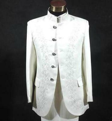 Mens Chinese Bridegroom Groomsman Suits Blazer Embroider Stage Show  Coat Jacket