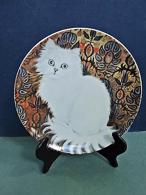 Vintage Set Of 2 Cat Porcelain Collector Plates White Persian Cat & Tabby Tiger