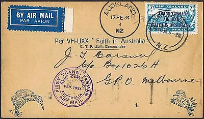 1934 NZ - Aust First Trans Tasman flight cover AAMC # 360 with 7d opt TS444