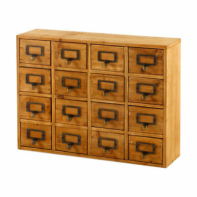 Wooden 13/14/15/16 Drawer Chest Cabinet with Brass Drop Handles Apothecary Style