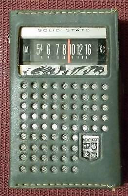 1960's? Solid State Magnavox Transistor AM Radio-Leather Case-# 2AM089