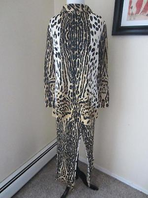 Mr. Dino 70's Leopard Print Pant Suit Dress Tunic Signed Set Animal Vintage M