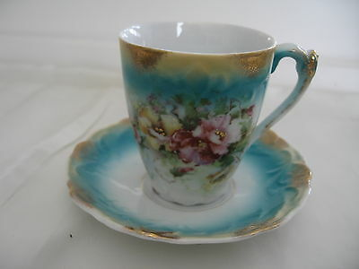 Unmarked Demitasse Cup And Saucer Set Flowers With Gold Stamen