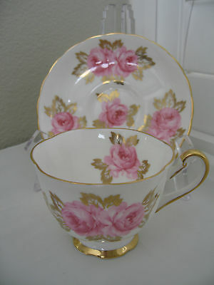 Royal Chelsea Tea Cup And Saucer Pink Cabbage Roses Gold Gilt England