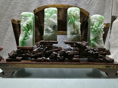 China Exquisite Hand-carved Dushan jade plum orchid bamboo chrysanthemum Seal