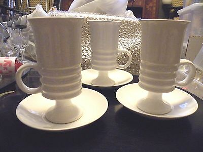Set of 3 Vintage Mod Footed Carlton Ware White Coffee Mugs / Saucers C 1965