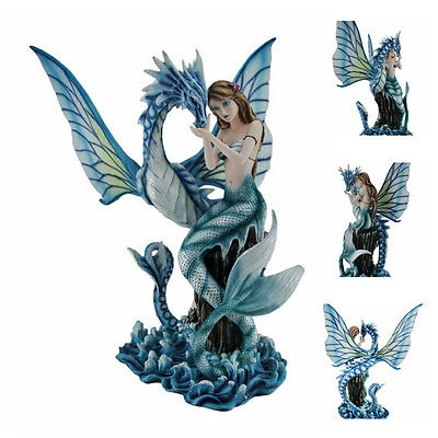 Mermaid On Sea Rock Caressing Blue Water Dragon Figure Statue Meeting Figure