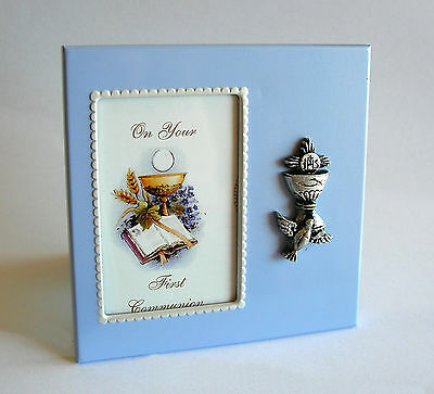 """On Your First Communion"" Metal Photo Frame with Holy Spirit, Chalice and Host"