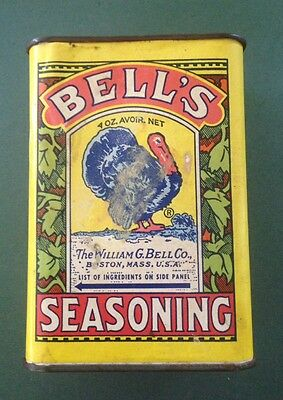 Vintage Spice Tin Bells Turkey Graphic Holiday Decor Thanksgiving Christmas