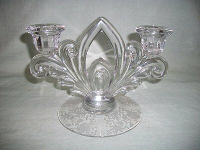 "Cambridge Etched Glass Arched Double Candlestick ""Wildflower""? Candelabra"