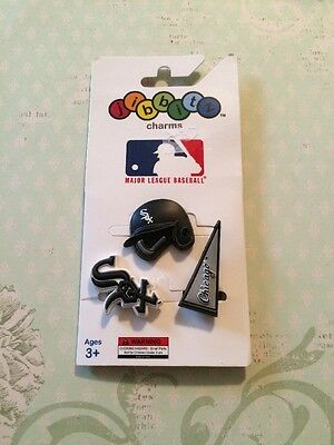 Authentic Crocs Jibbitz Shoe Charms MLB Chicago White Sox 3 Pack NIP HTF