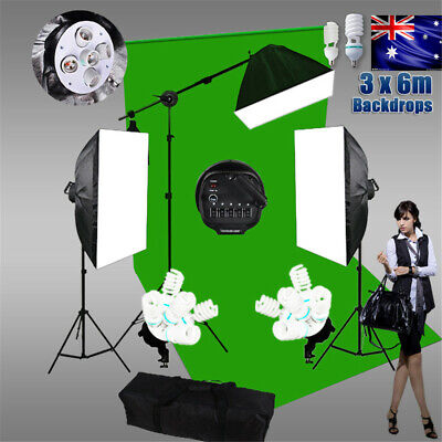 3x6m Green Screen Studio 3425w 5 Head Softbox Lighting Boom Muslin Backdrop Kit