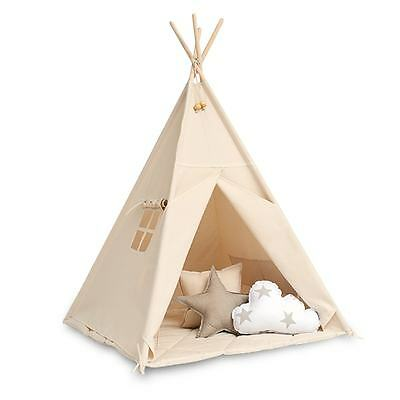 Teepee set with floor mat - Natural Beige