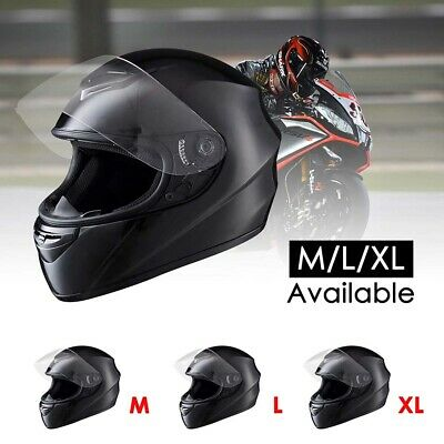 Full Face Helmet - Black Motorcycle Motorbike Racing Road AS/NZS 1698 w/ Visor