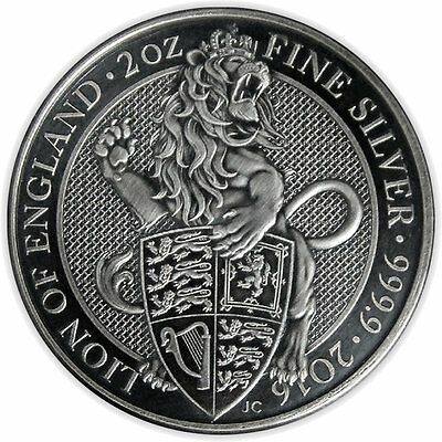 LION QUEEN BEASTS Antique Finish 2 Oz Silver Coin United Kingdom 2016 5£