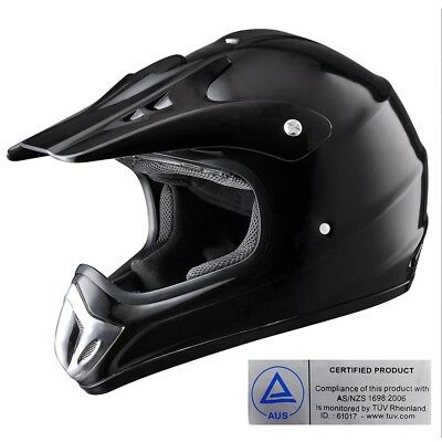 Motorcycle Helmet Motocross Motorbike Off Road Dirt Bike AS/NZS Black Size Opt.