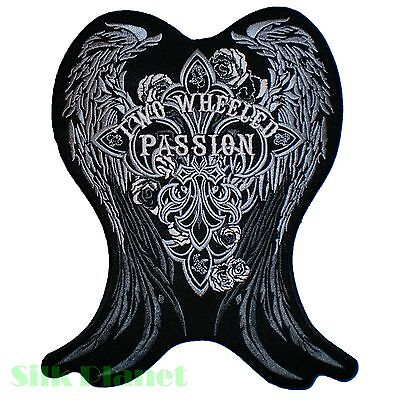 "8x10"" Two Wheeled Passion Wings Cross Biker Vest Back Patch Motorcycle Rock Punk"