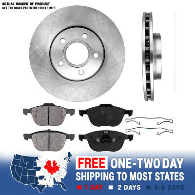 A0144 FIT 05 2006 2007 Ford Focus NonSVT Drilled Brake Rotors Ceramic Pads Front