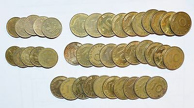 GERMANY coins lot 10 5 PFENNIG world foreign vintage brass