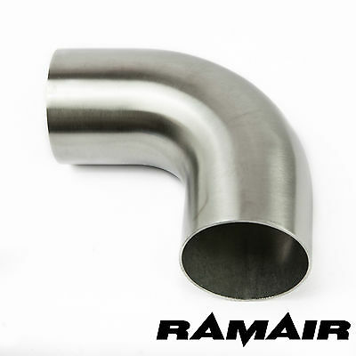 "2.5"" Inch 63mm 90 Degree Mandrel 1D 304 Stainless Steel Exhaust Bend Manifold"