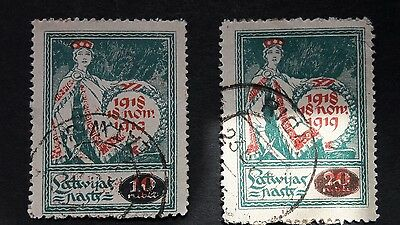 Latvia stamps used surcharged 10r & 20r 1920 sg65