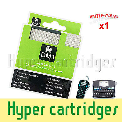 1PK 45020 White on Clear Label Tape Cassette For Dymo D1 Labelmanager 210D 12mm
