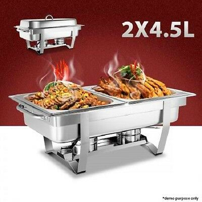 NEW 2x4.5L Stackable Bain Marie Stainless Steel Bow Chafing Dishes Buffet Warmer