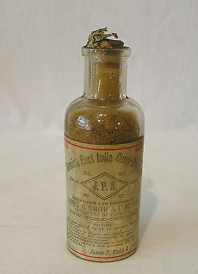 Antique Genuine East India Curry Powder Bottle by James P. Smith & Co.1/4 Pound